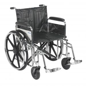 "Sentra Extra Heavy Duty Wheelchair, Detachable Full Arms, Swing away Footrests, 22"" Seat"
