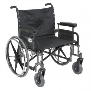 "Sentra Extra Wide Heavy Duty Wheelchair, Detachable Full Arms, 26"" Seat"