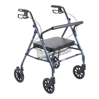 Heavy Duty Bariatric Walker Rollator with Large Padded Seat, Blue
