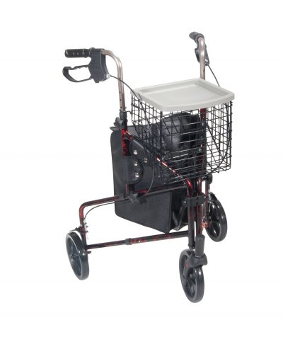 3 Wheel Walker Rollator with Basket Tray and Pouch, Flame Red