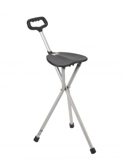 Folding Lightweight Cane Seat, Silver