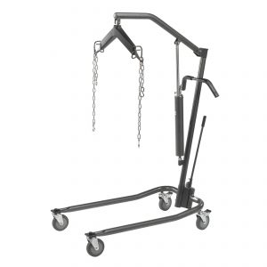 "Hydraulic Patient Lift with Six Point Cradle, Silver Vein with Additional Set of 3"" Casters"