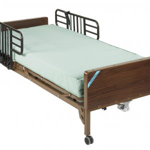Delta Ultra Light Full Electric Bed with Half Rails and Therapeutic Support Mattress