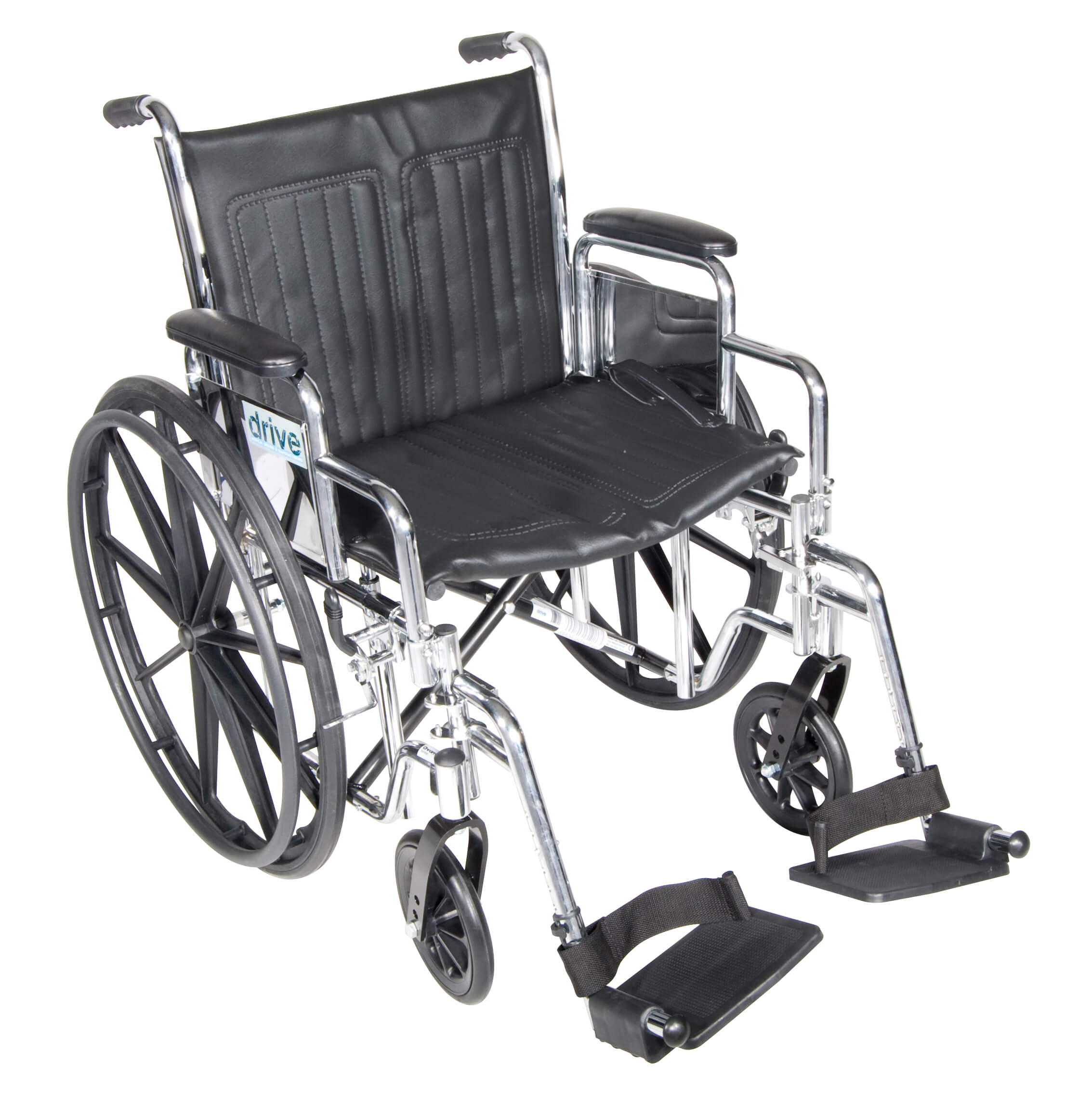 """Chrome Sport Wheelchair, Detachable Desk Arms, Swing away Footrests, 20"""" Seat"""