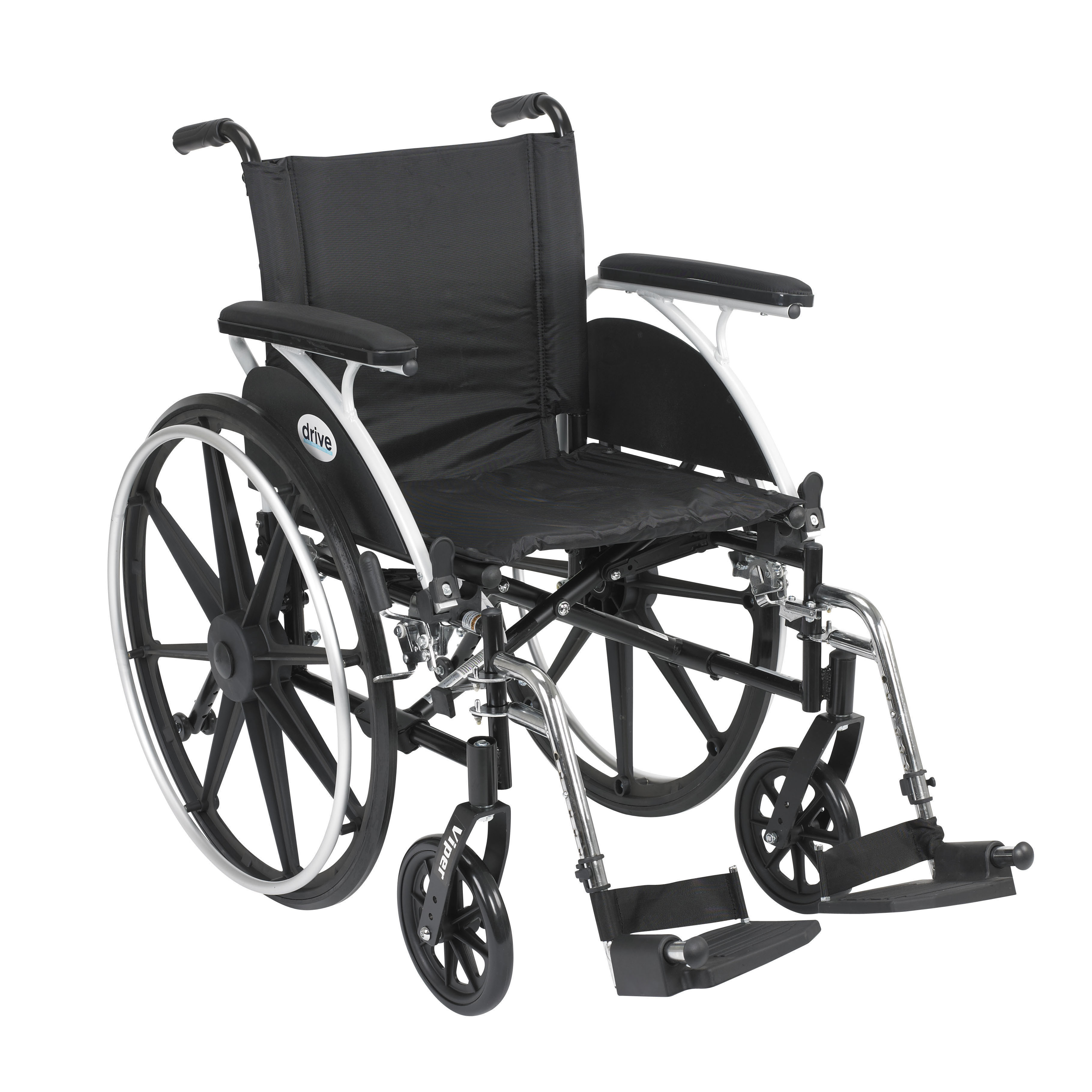 """Viper Wheelchair with Flip Back Removable Arms, Full Arms, Swing away Footrests, 18"""" Seat"""